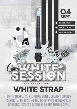 White Session Music Party Flyer Template