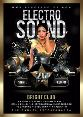 classy electro sound session flyer template