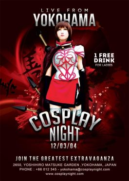cosplay night japan themed flyer template
