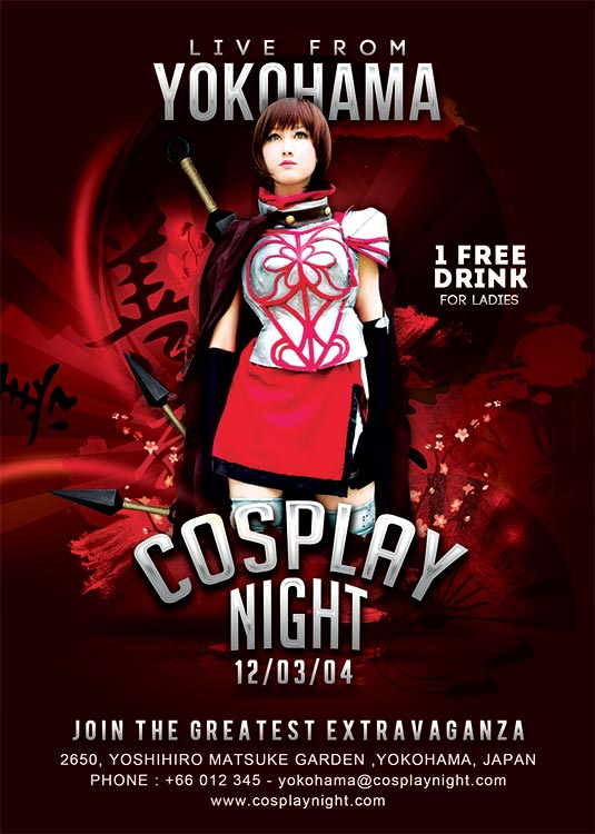 cosplay night japan themed flyer template download
