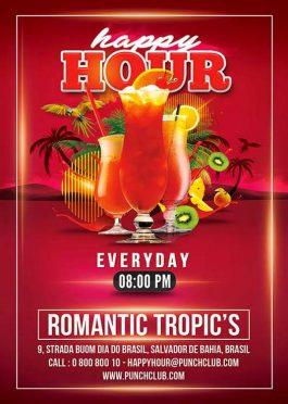 happy hour summer drinks flyer template