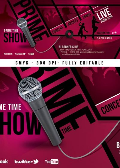 music event ticket concert flyer template download