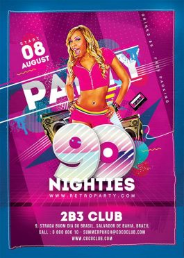90ies revival retro party flyer template