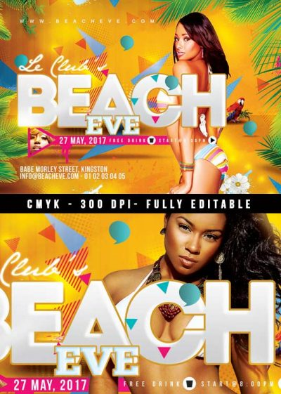 Beach summer eve party flyer template download