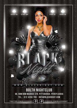Black night poker casino flyer template