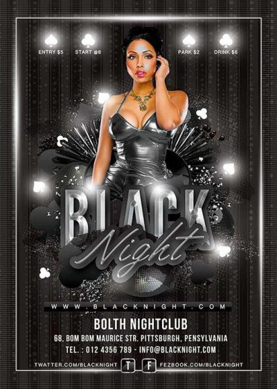 Black night poker casino flyer template download