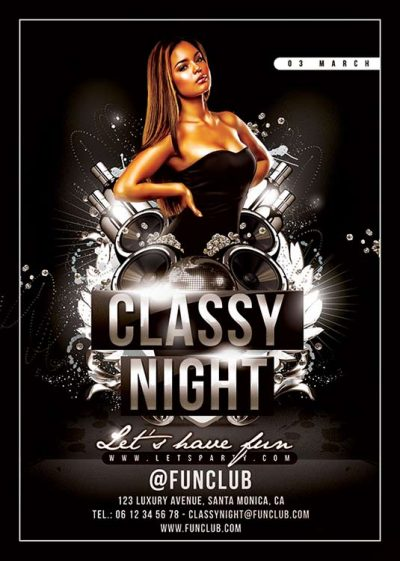 Classy drinks and sound party flyer template download