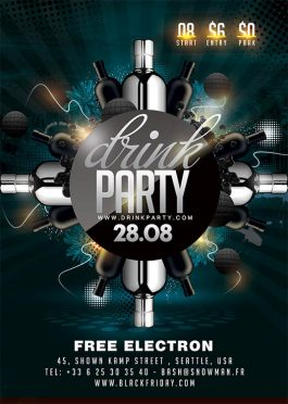 Classy sound drink party flyer template