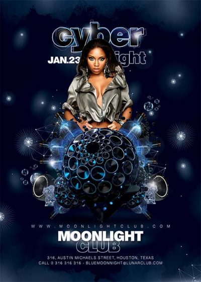Cyber Night Techno House Flyer Template download