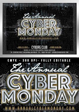 Cyber monday sales or club flyer template
