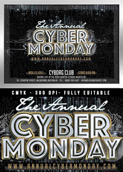 Cyber monday sales or club flyer template download