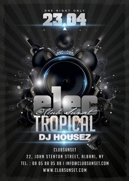 Electro tropical sound party flyer template