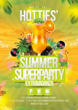 Exotic night tropical party flyer template
