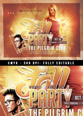 Fall Party Autumn flyer template