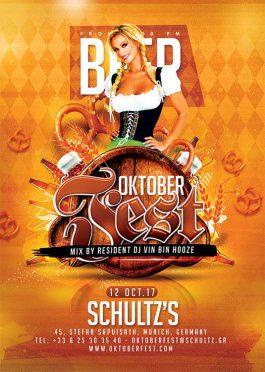 German oktober fest beer flyer template