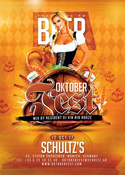 German oktober fest beer flyer template download