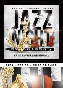 Jazz Music Concert Night Flyer Template