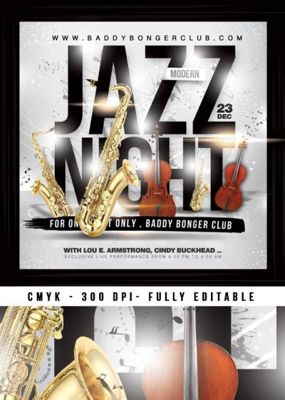 Jazz Music Concert Night Flyer Template download