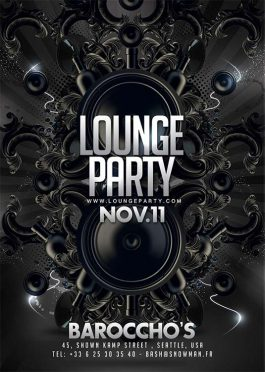 Lounge barocco party flyer template