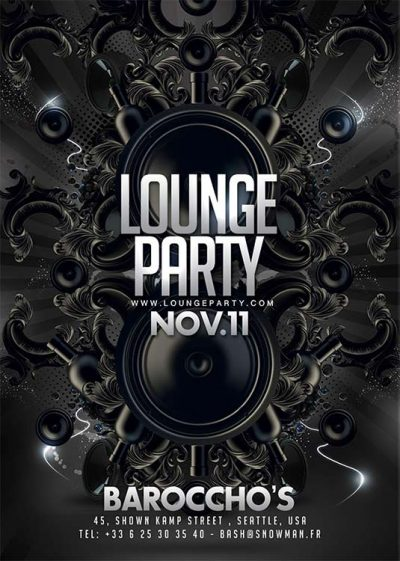 Lounge barocco party flyer template download
