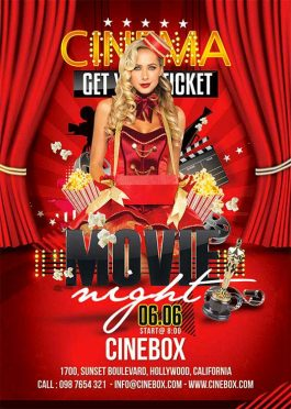 Movie themed night Party Flyer Template
