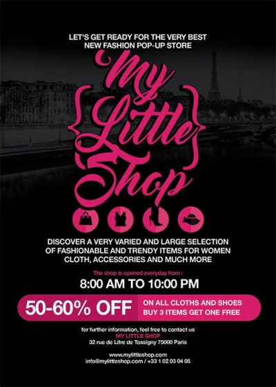 Pop Up Shop Opening Advertising Flyer Template download
