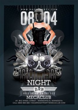 Racing fans mechanics party flyer template