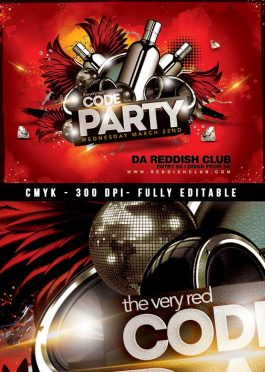 Red code drink night music Flyer Template