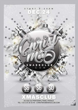Silver edition christmas party flyer template
