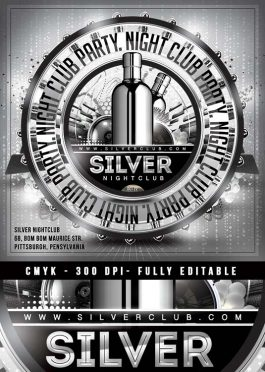 Squared Silver Nightclub flyer template