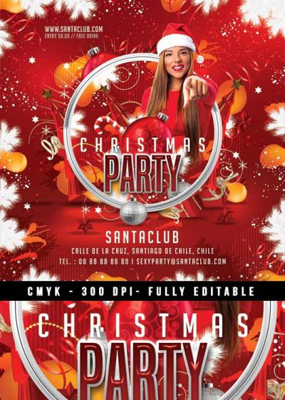 Squared red xmas party flyer template download