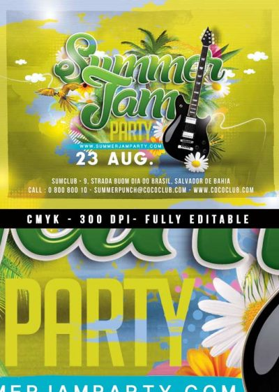 Summer jam concert party flyer template download