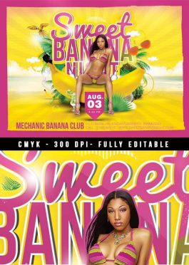 Sweet banana sexy party flyer template