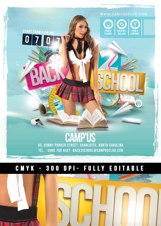 Back 2 school Club flyer template download
