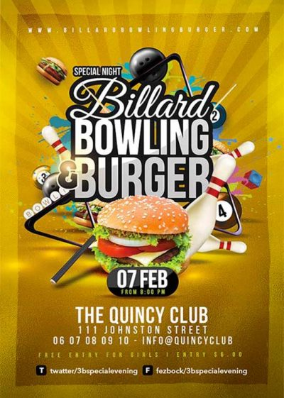 Billiard Bowling Burgers Flyer Template download