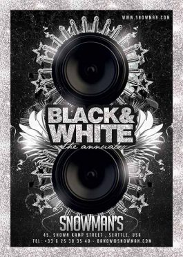 Black white lounge flyer template