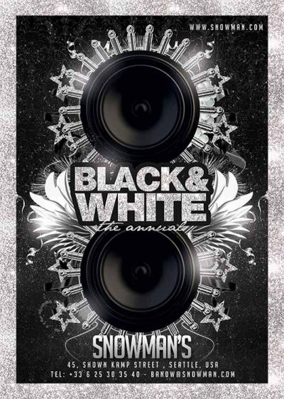Black white lounge flyer template download
