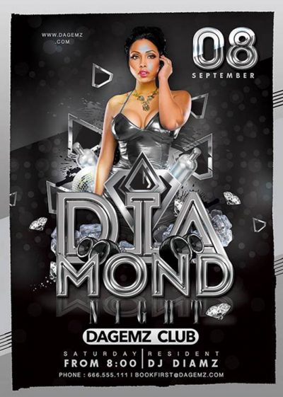 Diamond themed night flyer template download