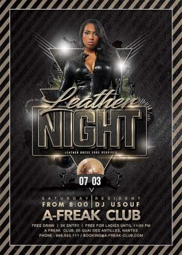 Leather party club flyer template