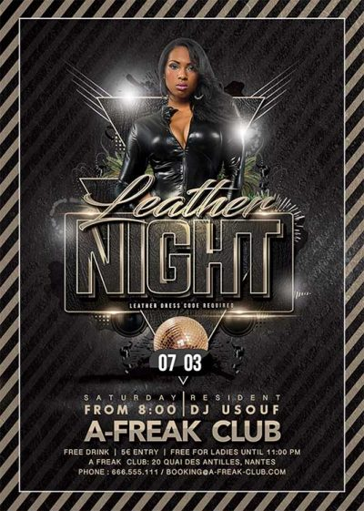 Leather party club flyer template download