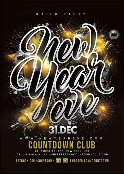 New year celebration party flyer template download