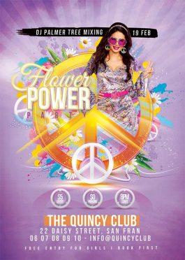 Peace flower hippie flyer template