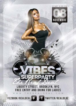 Vibes super night party flyer template