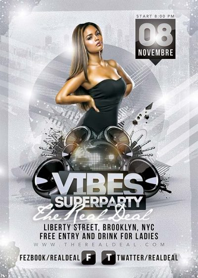Vibes super night party flyer template download