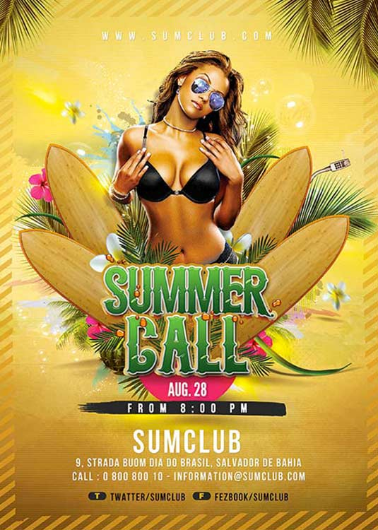 Exotic Summer Party Flyer Template download