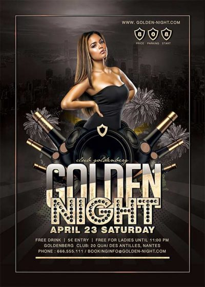 Golden theme night party flyer template download
