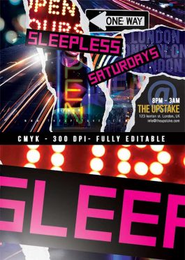 Sleepless Club Party Night Flyer
