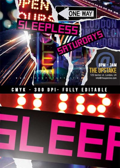 Sleepless Club Party Night Flyer download