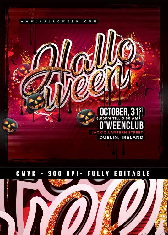 n2n44 graphic design squared halloween party flyer template