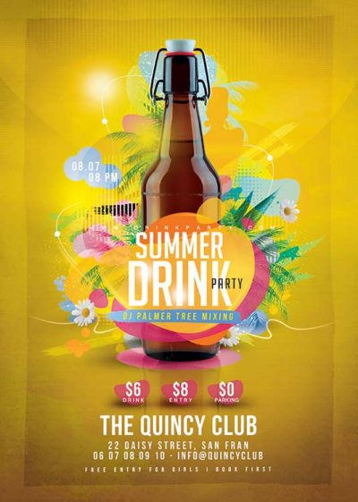 Summer drink party Flyer Template download